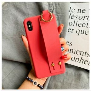 Lovely Wrist Strap iPhone Case Burnt Orange
